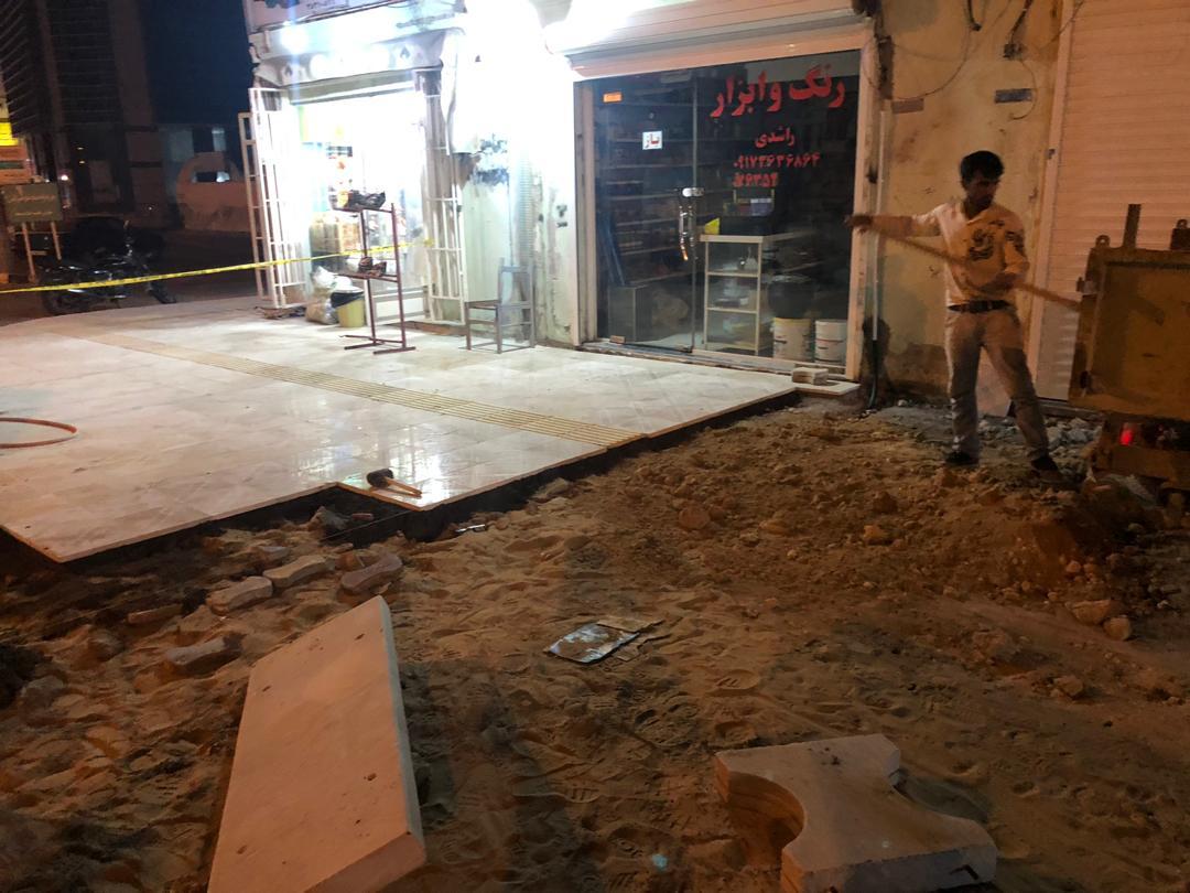 ترمیم پیاده رو جلو مسجد قدس